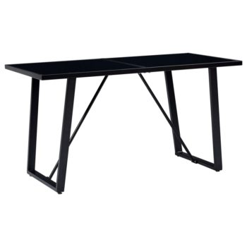 vidaXL Eettafel 140x70x75 cm gehard glas zwart
