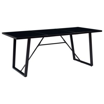 vidaXL Eettafel 180x90x75 cm gehard glas zwart