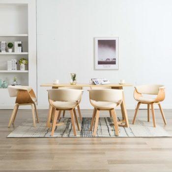 vidaXL Eetkamerstoelen 6 st gebogen hout en kunstleer crème