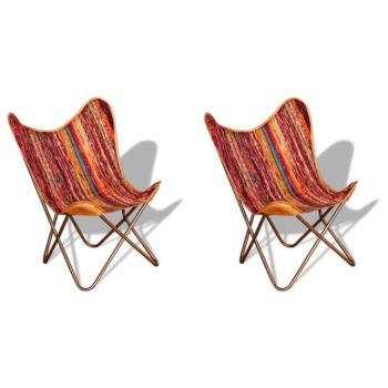 vidaXL Vlinderstoelen 2 st chindi stof meerkleurig