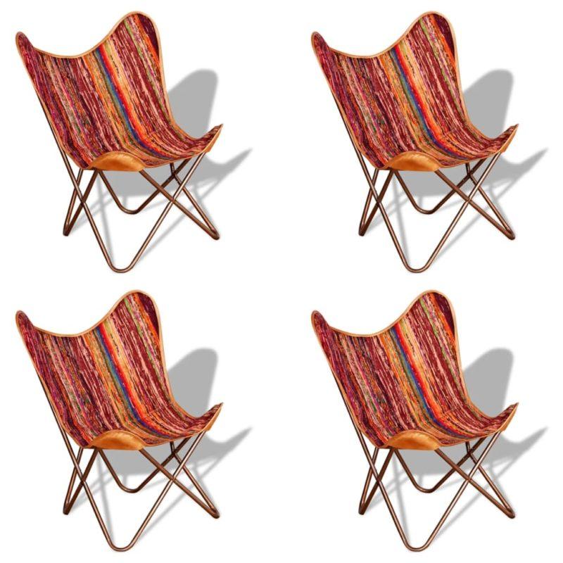 vidaXL Vlinderstoelen 4 st chindi stof meerkleurig