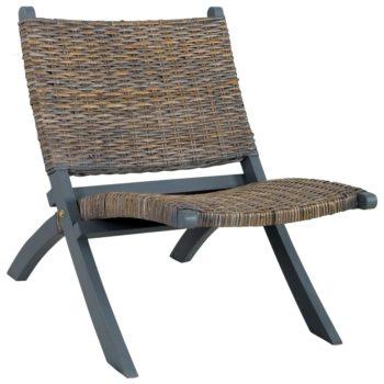 vidaXL Relaxstoel natuurlijk kubu rattan en massief mahoniehout grijs