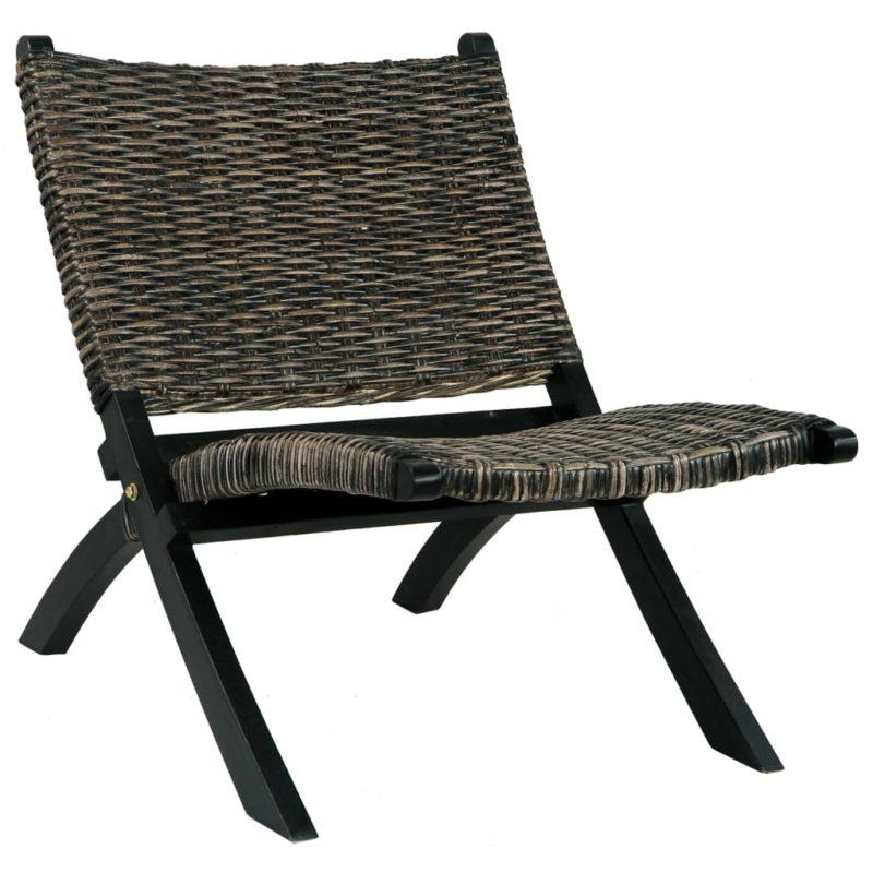 vidaXL Relaxstoel natuurlijk kubu rattan en massief mahoniehout zwart