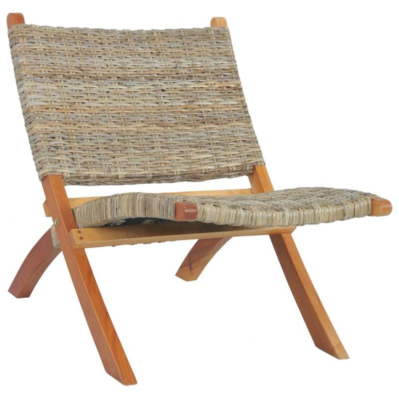 vidaXL Relaxstoel natuurlijk kubu rattan en massief mahoniehout