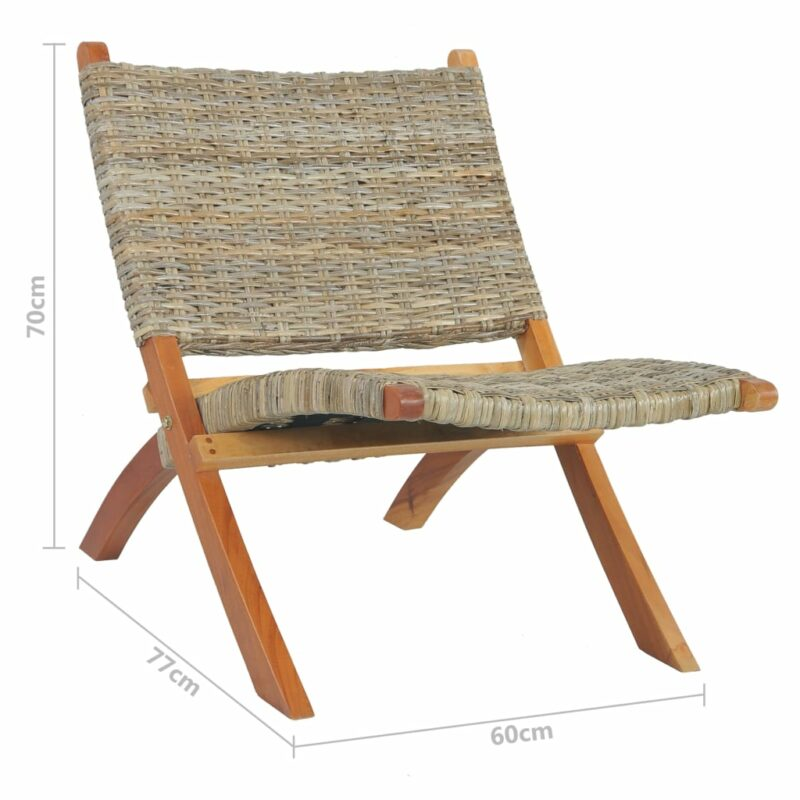 Relaxstoel natuurlijk kubu rattan en massief mahoniehout