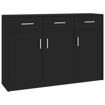 vidaXL Dressoir 110x34x75 cm spaanplaat hoogglans zwart