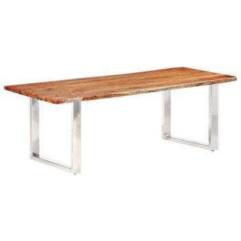 vidaXL Eetkamertafel met natuurlijke randen 3,8 cm 220 cm acaciahout
