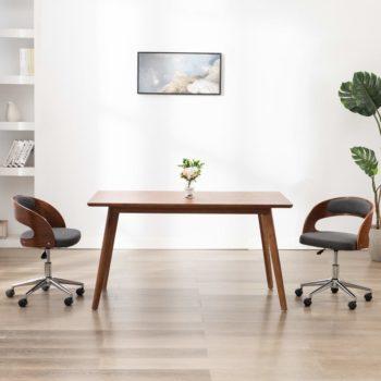 vidaXL Eetkamerstoel draaibaar gebogen hout en stof grijs