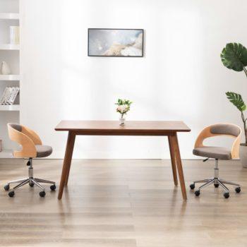 vidaXL Eetkamerstoel draaibaar gebogen hout en stof taupe