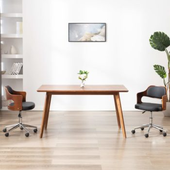 vidaXL Eetkamerstoel draaibaar gebogen hout en kunstleer zwart