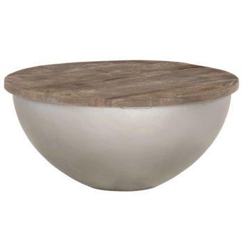vidaXL Salontafelset komvormig Ø 60 cm massief mangohout