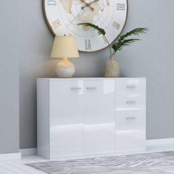 vidaXL Dressoir 105x30x75 cm spaanplaat hoogglans wit