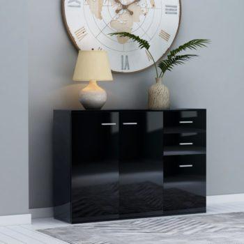 vidaXL Dressoir 105x30x75 cm spaanplaat hoogglans zwart