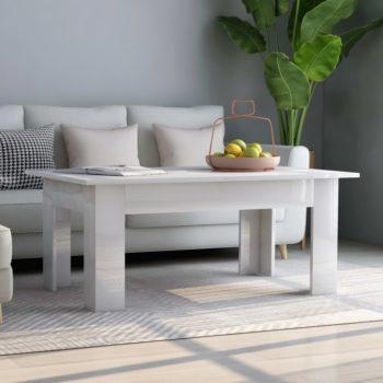 vidaXL Salontafel 100x60x42 cm spaanplaat hoogglans wit