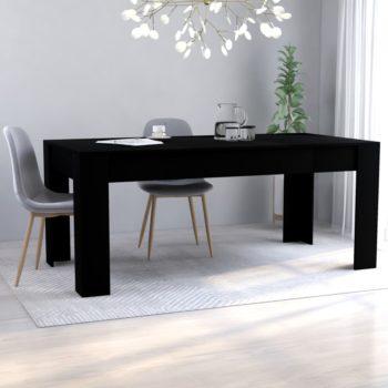 vidaXL Eettafel 180x90x76 cm spaanplaat zwart
