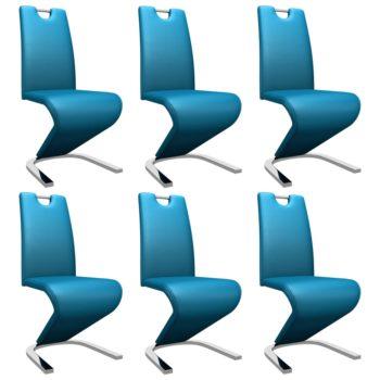 vidaXL Eetkamerstoelen met zigzag-vorm 6 st kunstleer blauw