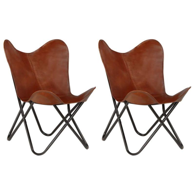 vidaXL Vlinderstoelen 2 st kindermaat echt leer bruin