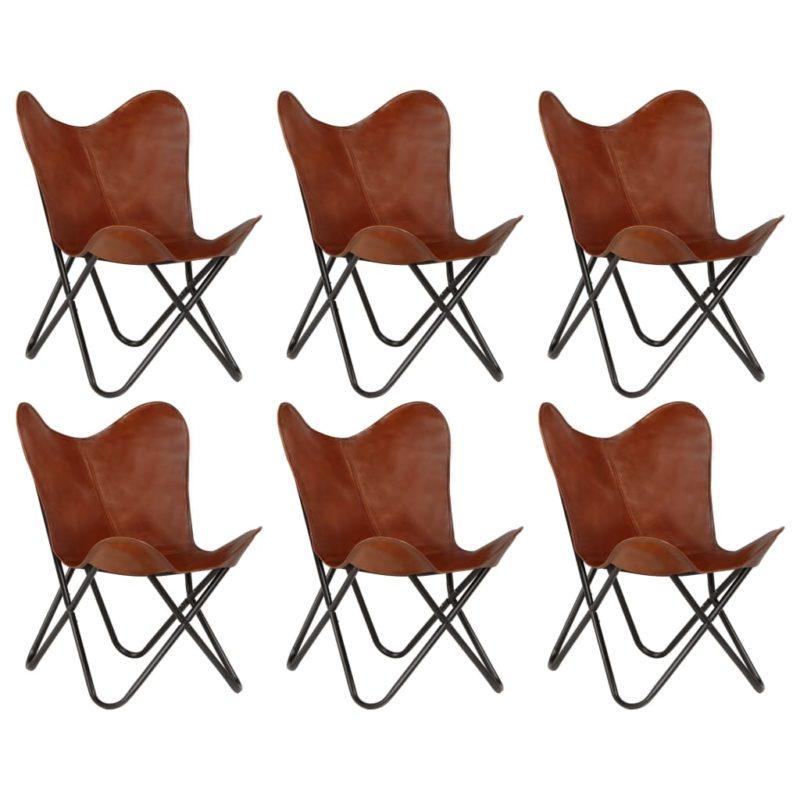 vidaXL Vlinderstoelen 6 st kindermaat echt leer bruin