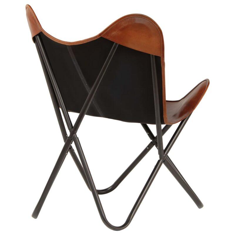 Vlinderstoelen 6 st kindermaat echt leer bruin