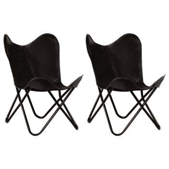 vidaXL Vlinderstoelen 2 st kindermaat echt leer zwart