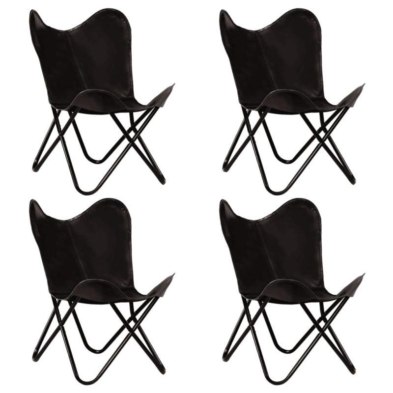 vidaXL Vlinderstoelen 4 st kindermaat echt leer zwart