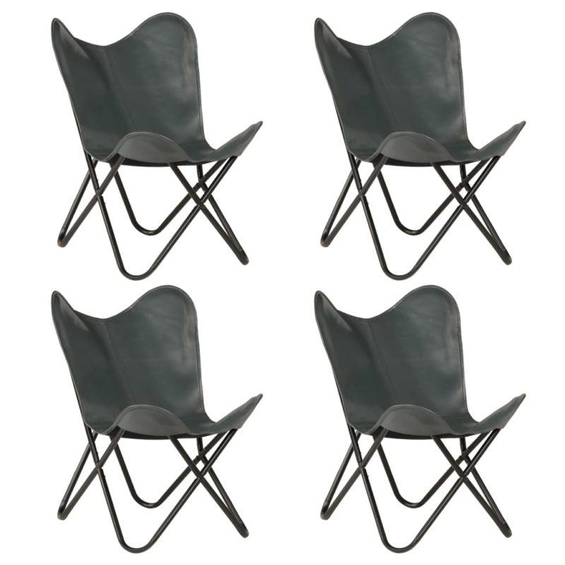 vidaXL Vlinderstoelen 4 st kindermaat echt leer grijs