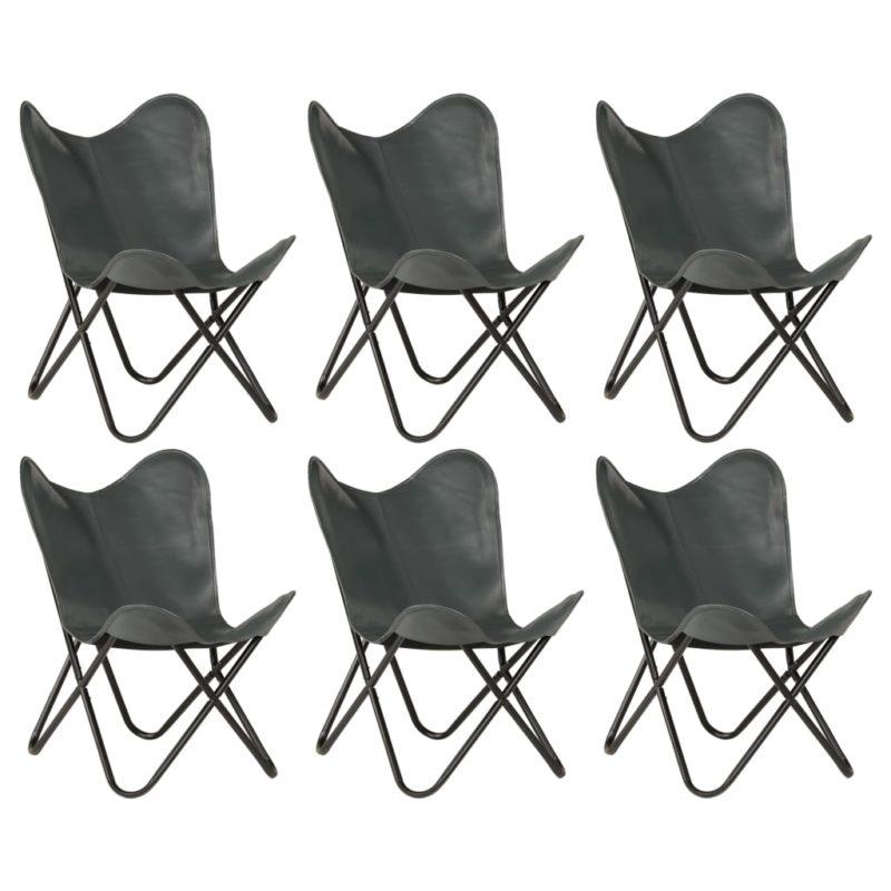 vidaXL Vlinderstoelen 6 st kindermaat echt leer grijs