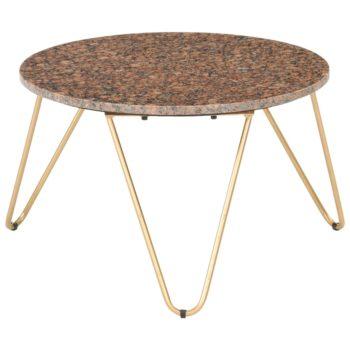 vidaXL Salontafel 65x65x42 cm echt steen met marmeren textuur bruin