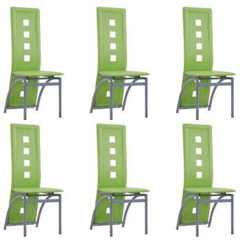 vidaXL Eetkamerstoelen 6 st kunstleer groen
