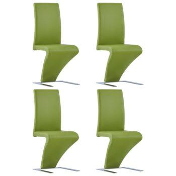 vidaXL Eetkamerstoelen met zigzag-vorm 4 st kunstleer groen