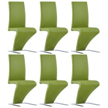 vidaXL Eetkamerstoelen met zigzag-vorm 6 st kunstleer groen