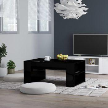 vidaXL Salontafel 100x60x42 cm spaanplaat hoogglans zwart