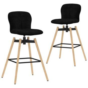 vidaXL Barstoelen draaibaar 2 st stof zwart