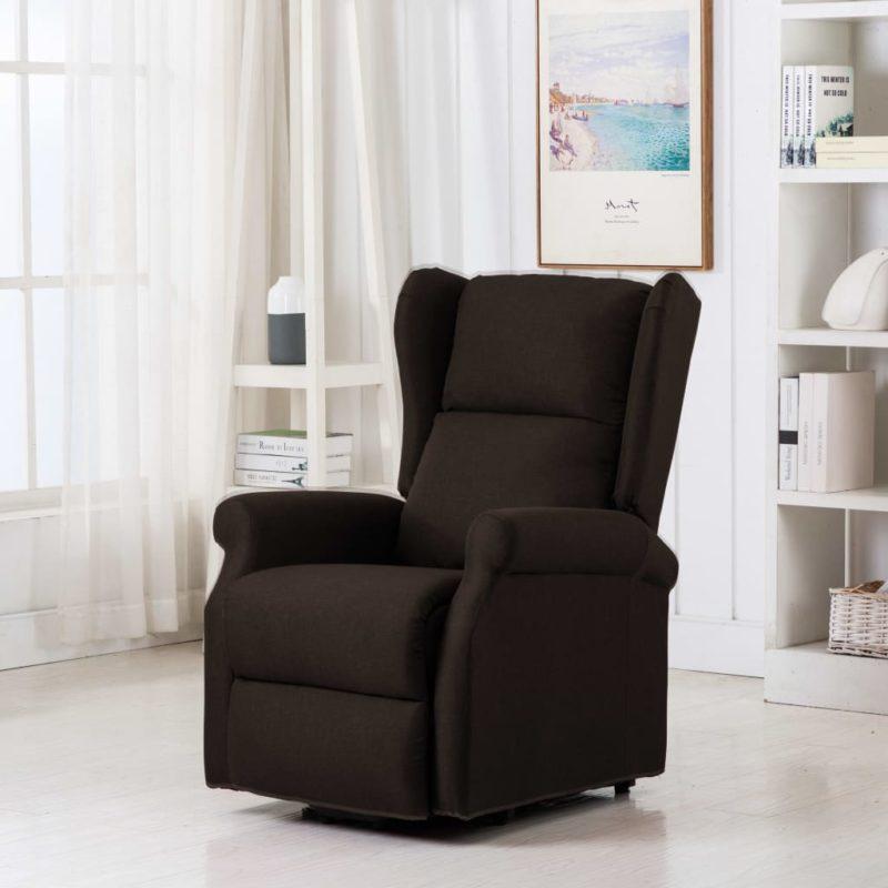 vidaXL Sta-op-stoel stof donkerbruin