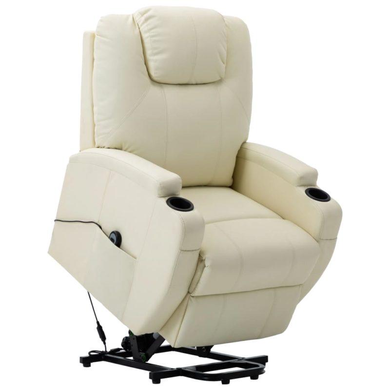 vidaXL Sta-op-stoel kunstleer crèmewit