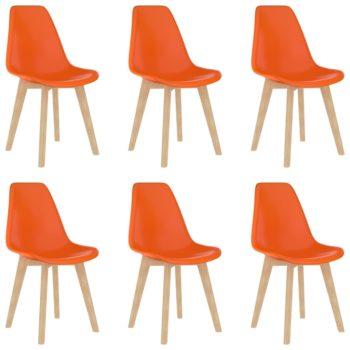 vidaXL Eetkamerstoelen 6 st kunststof oranje