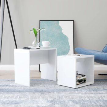 vidaXL Salontafelset 48x30x45 cm spaanplaat hoogglans wit