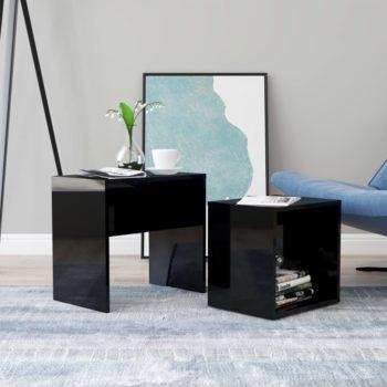 vidaXL Salontafelset 48x30x45 cm spaanplaat hoogglans zwart