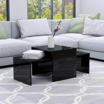 vidaXL Salontafelset 100x48x40 cm spaanplaat hoogglans zwart