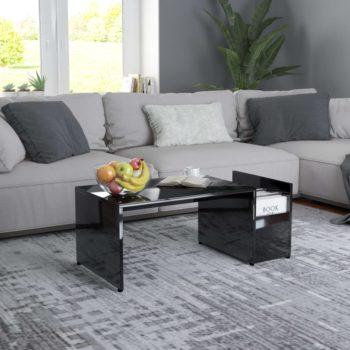 vidaXL Salontafel 90x45x35 cm spaanplaat hoogglans zwart