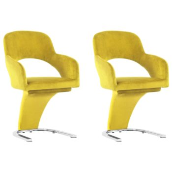 vidaXL Eetkamerstoelen 2 st fluweel geel
