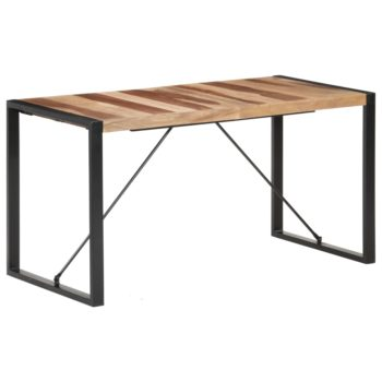 vidaXL Eettafel 140x70x75 cm massief hout met sheesham afwerking