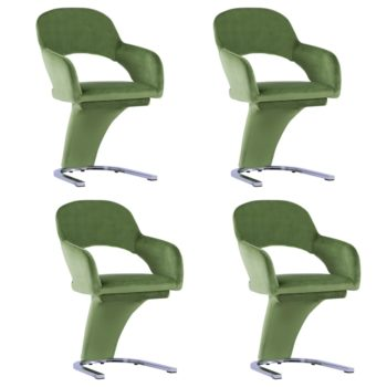 vidaXL Eetkamerstoelen 4 st fluweel groen