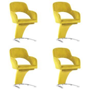 vidaXL Eetkamerstoelen 4 st fluweel geel