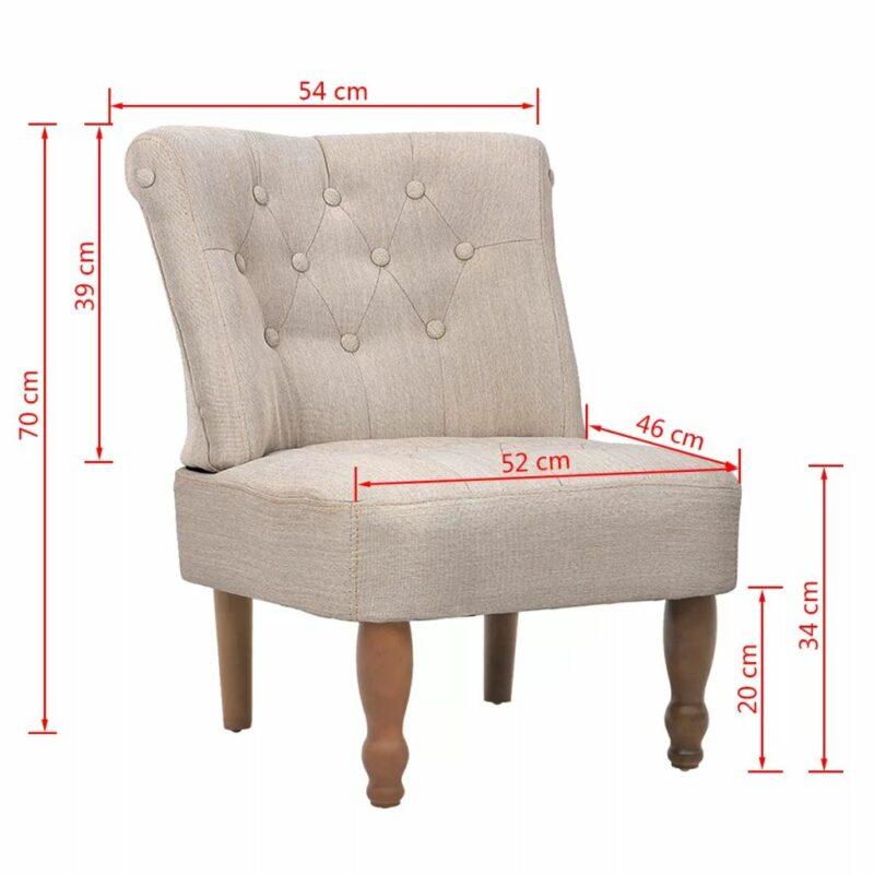 Franse stoelen 2 st stof cr?me