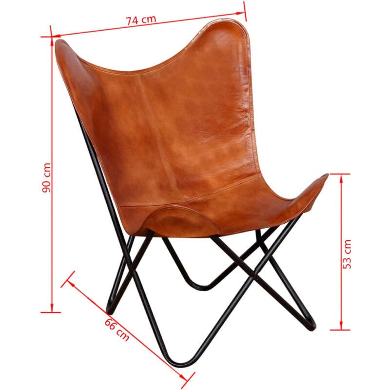 Vlinderstoel echt leer bruin