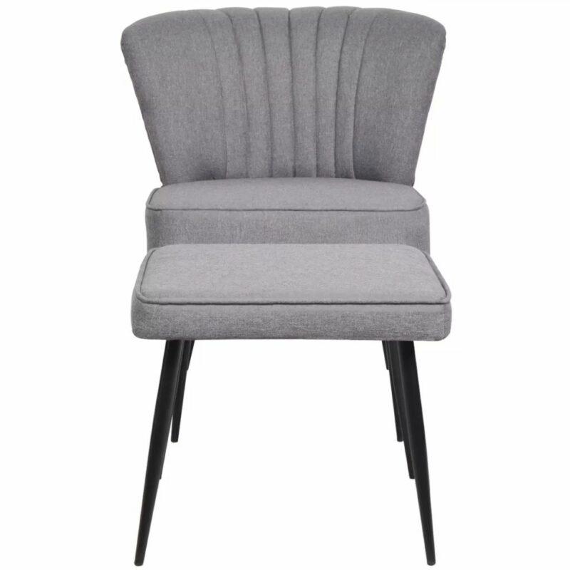 Cocktailstoel met voetenbank stof lichtgrijs