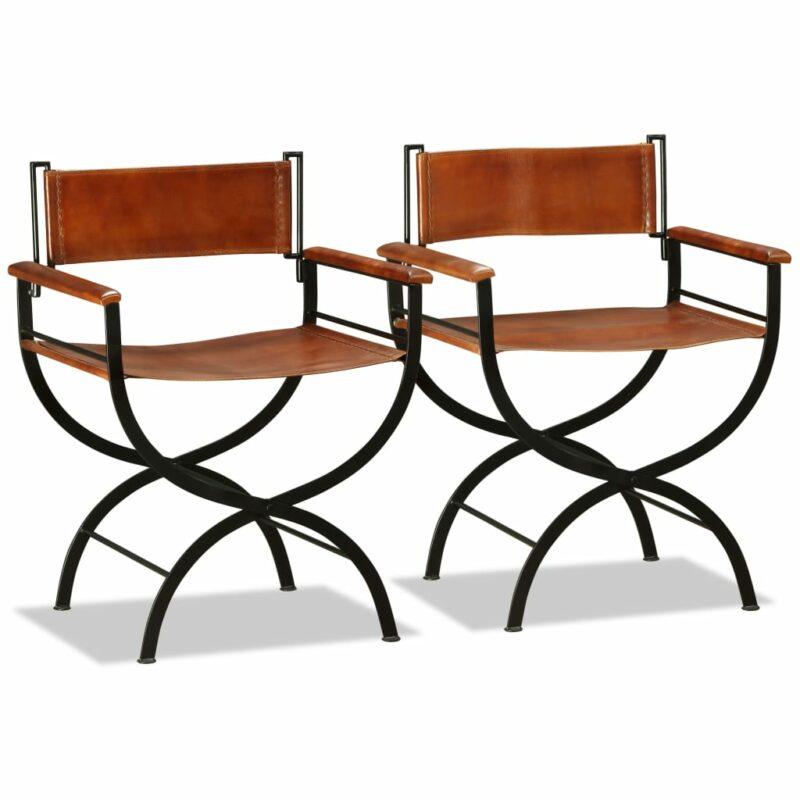 Klapstoelen 2 st echt leer zwart en bruin