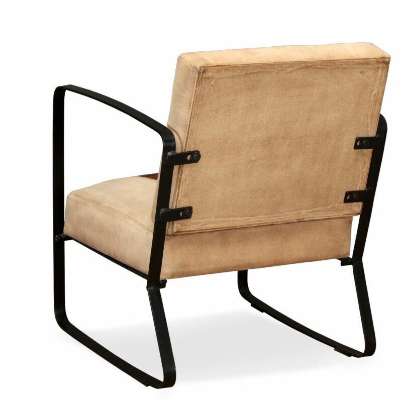 Loungestoel echt geitenleer en canvas bruin