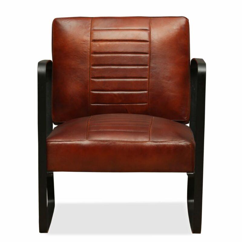 Loungestoel echt leer bruin